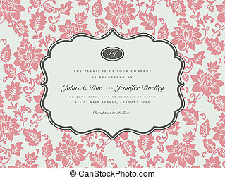 rosa, quadro, vetorial, fundo, ornate