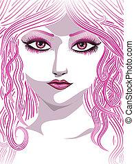 rosa, ragazza, faccia