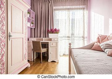 rosa, ragazza, stanza