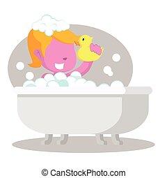 rosa, ragazza, vasca bagno