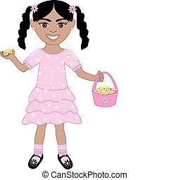 rosa, ragazza, vestito fiore