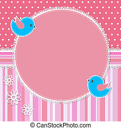 rosa, rahmen, blumen, vögel