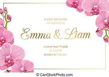 rosa, ram, bröllop inbjudan, hörna, gräns, orkidé