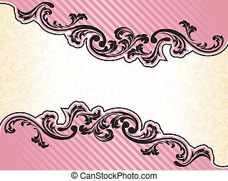rosa, ram, romantisk, fransk, retro