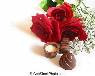 rosa, ramo, con, chocolates