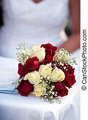 rosa, ramo de la boda