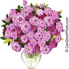 rosa, ramo, flores, florero