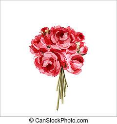 rosa, ramo, peonías, rojo