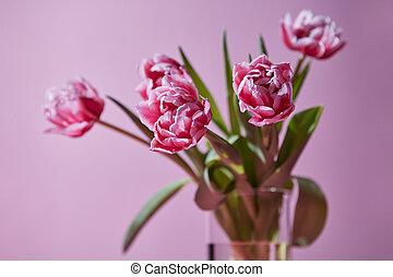 rosa, ramo, tulipanes, florero, vidrio, plano de fondo