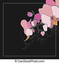 rosa, ramoscello, orchidee