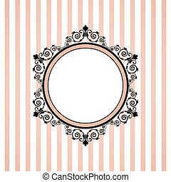 rosa, rayado, vector, marco