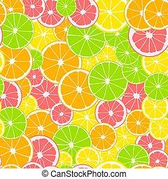 rosa, rebanadas, fruta cítrica, limón, impresión, pattern., seamless, amarillo, toronja, fruta, orange., verde, fondo., cal