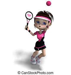 rosa, recorte, juegos, deportivo, toon, encima, tennis., interpretación, sombra, trayectoria, blanco, ropa, niña, 3d