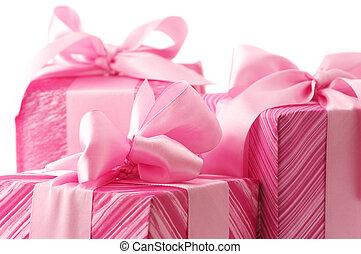 rosa, regali, primo piano