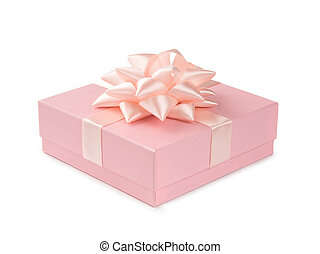 rosa, regalo, aislado, arco, plano de fondo, cinta blanca