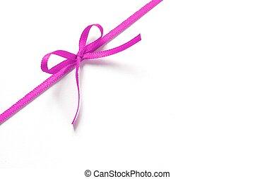 rosa, regalo, isolato, arco, fondo, nastro bianco