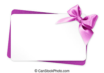 rosa, regalo, isolato, arco, nastro, fondo, bianco, scheda
