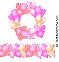 rosa, reizend, satz, border., höhepunkte, rahmen, seamless, mehrfarbig, kristalle, runder