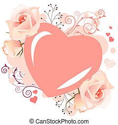 rosa, remolinos, en forma de corazón, marco, rosas, delicado