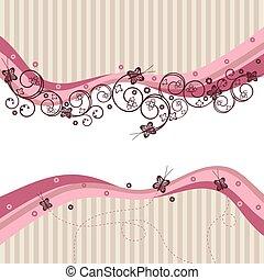 rosa, remolinos, ondas, mariposas