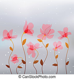 rosa, resumen, flores, transparencia