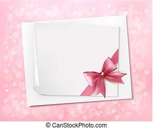 rosa, ribbon., arco regalo, vettore, fondo, vacanza