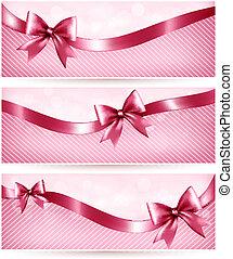 rosa, ribbon., regalo, tres, arco, vector, brillante,...