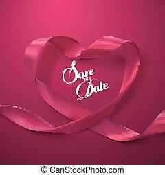 rosa, risparmiare, heart., nastro, date.