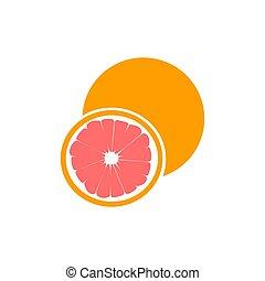rosa, ritaglio, maturo, agrume, isolato, pompelmo, frutta, fondo, mezzo, percorso, bianco