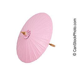 rosa, ritaglio, ombrello, fatto mano, fondo, percorso, bianco