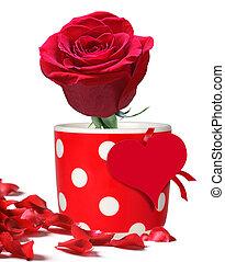 rosa roja, en, lunares, jarra