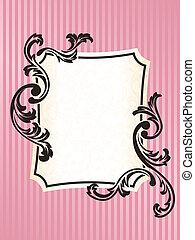 rosa, romántico, marco, francés, rectangular, retro
