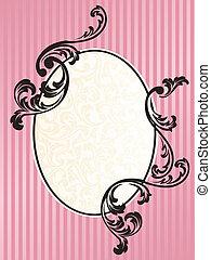 rosa, romantico, cornice, francese, retro, ovale