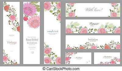 rosa, romantico, f, crisantemi, collezione, sagoma, cartelle