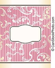 rosa, romantisk, fransk, etikett, elegant, retro