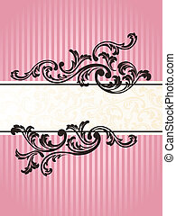 rosa, romantisk, vertikal, fransk, retro, baner