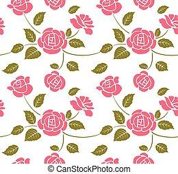 rosa, roses., seamless, plano de fondo
