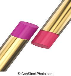 rosa, rossetto, oro, illustrazione, rosso, 3d