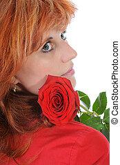 rosa, rosso-dai capelli, donne