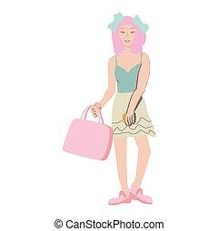 rosa, säcke, shoppen, haar, tragen, asiatisches mädchen, smartphone.
