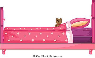 rosa, säng