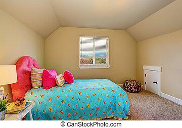 rosa, säng, stort, beige, sovrum, inre, flicka