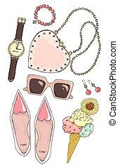 rosa, sätta, tillbehör, kvinnlig, color.