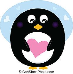 rosa, söt, älska hjärta, valentinkort, pingvin