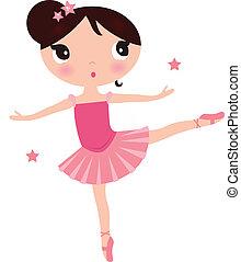 rosa, söt, ballerina, isolerat, flicka, vit