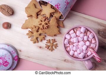rosa, söt, fester, bakgrund, jul