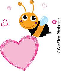 rosa, söt, hjärta, flygning, isolerat, bi, holdingen, vit