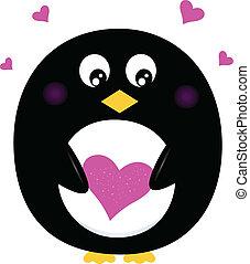 rosa, söt, hjärta, isolerat, holdingen, vit, pingvin