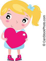 rosa, söt, litet, hjärta, isolerat, blond, flicka, vit