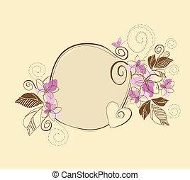 rosa, söt, ram, blommig, brun